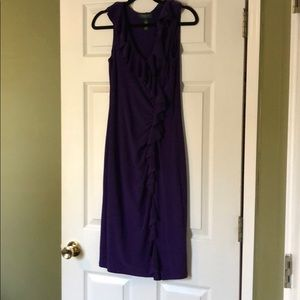 Ruffle detail purple dress